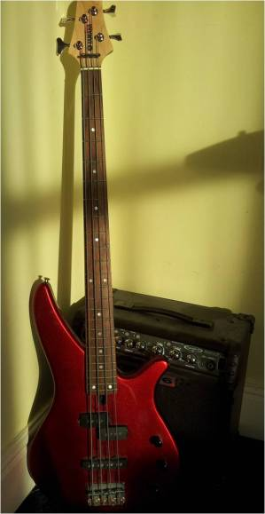 My first bass: a vibrant, cherry red Yamaha RBX170